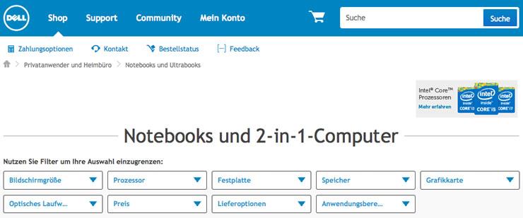 Rabatte bei Notebooks mit einem Dell Gutschein